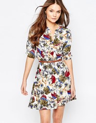 Yumi Belted Dress With 3 4 Sleeves In Thistle Print White Multi