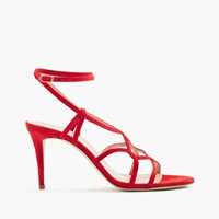 J.Crew Suede Cross Strap Sandals Vibrant Flame