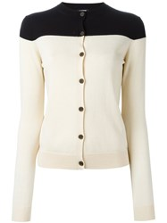 Jil Sander Navy Bicolour Cardigan Nude And Neutrals