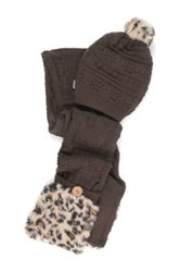 Muk Luks Pom Beanie And Faux Fur Trim Pocket Scarf Set Brown
