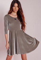 Missguided 3 4 Sleeve Velvet Skater Dress Grey Grey