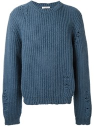 J.W.Anderson J.W. Anderson Distressed Chunky Knit Jumper Blue