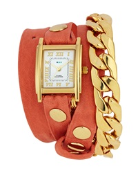 La Mer Chain And Leather Wrap Watch Cantaloupe
