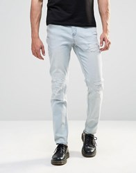Cheap Monday Tight Skinny Jeans Cloud Bleach Distressed Cloud Blue
