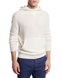 Ermenegildo Zegna Cashmere Hooded Pullover Sweater White