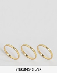Asos Gold Plated Sterling Silver Pack Of 3 Hammered Rings Gold Plated