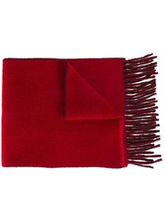 Polo Ralph Lauren Fringed Knit Scarf Red