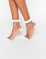 Asos Sheer Polka Dot Ankle Socks With Lace Trim White