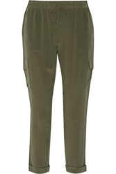 Joie Yolana Silk Tapered Pants Green