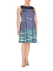Lafayette 148 New York Plus Size Striped Pleated Dress Blue Multi