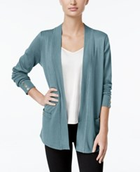 Charter Club Open Front Cardigan Only At Macy's Dusted Aqua