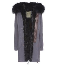 Mr And Mrs Italy Smoke Fur Lined Cotton Parka Coat Blue