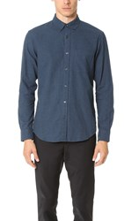 Club Monaco Slim Button Down Flannel Shirt Gin Blue