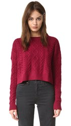 Autumn Cashmere Cropped Boxy Fisherman Sweater Claret