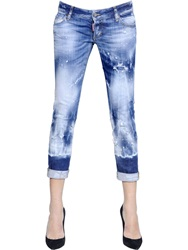 Dsquared Pat Fit Acid Wash Cotton Denim Jeans Blue White