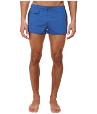 Emporio Armani Tape Logo Short Swim Bottoms Blue Silver