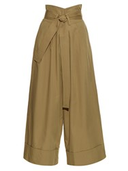 Adam By Adam Lippes Wide Leg Cotton Poplin Cropped Trousers