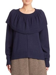 A Detacher Solid Knit Sweater Navy
