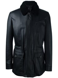 Salvatore Ferragamo Shearling Collar Leather Jacket Black
