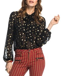 Scotch And Soda Metallic Star Sheer Tie Neck Blouse Combo A