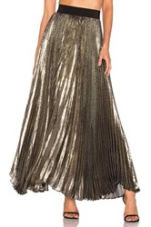 Alice Olivia Katz Pleated Maxi Skirt Metallic Gold