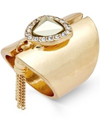 Thalia Sodi Gold Tone Stone Crystal And Fringe Statement Ring Only At Macy's