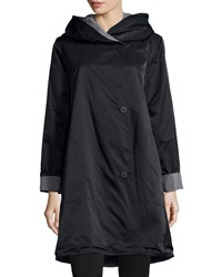 Eileen Fisher Reversible Hooded Rain Coat Black Pewter Petite