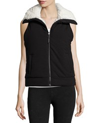 Marc New York Marc Ny Performance High Collar Faux Fur Lined Vest Black Ivory
