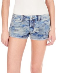 William Rast Patchwork Denim Shorts Indigo
