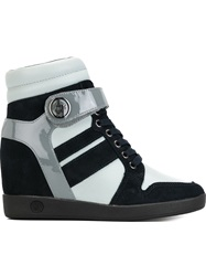 Armani Jeans Concealed Wedge Lace Up Sneakers Blue