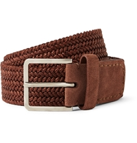 Loro Piana Brick 4.5Cm Leather And Suede Trimmed Woven Belt Red