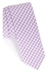 1901 'Dutra' Gingham Seersucker Cotton Tie Purple