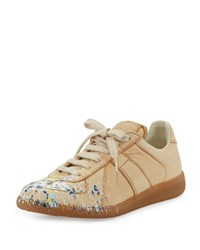 Maison Martin Margiela Paint Splatter Leather Sneaker Beige Women's
