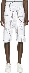 Mcq By Alexander Mcqueen White And Black Geometric Lounge Shorts
