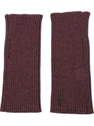 Maison Michel Ribbed Fingerless Gloves Red