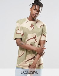 Reclaimed Vintage Oversized Camo T Shirt Stone