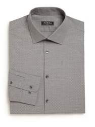 Saks Fifth Avenue Regular Fit Diamond Dress Shirt Light Grey