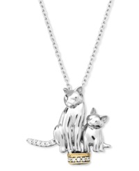 Macy's Aspca Tender Voices Sterling Silver And 10K Gold Plated Necklace Diamond Accent Cat Pendant