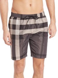Burberry Two Tonal Checked Swim Trunks Charcoal