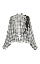 Antonio Marras Long Dolman Sleeve Plaid Blazer Grey White