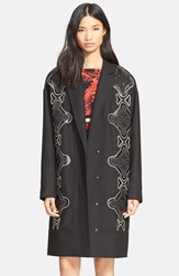 Tracy Reese Applique Stretch Cady Coat Black