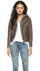 Doma Leather Moto Jacket With Detachable Hood