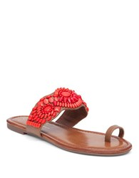 Jessica Simpson Toe Ring Microsuede Sandals Coral