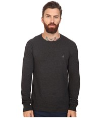 Original Penguin Long Sleeve Reversible Crew Dark Charcoal Heather Men's Long Sleeve Pullover Black