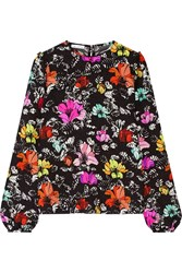 Oscar De La Renta Floral Print Silk Blend Cloque Top Black