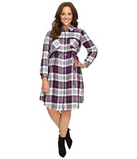Christin Michaels Plus Size Lakeland Plaid Dress Navy Ivory Women's Dress Blue
