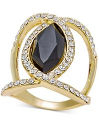 Inc International Concepts Gold Tone Black Stone And Pave Crystal Statement Ring Only At Macy's