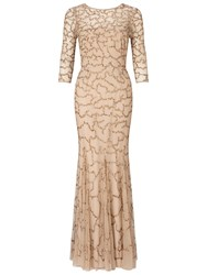 Ariella Indi Long Beaded Dress Gold