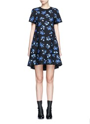 Proenza Schouler Floral Print Raw Trim Flared Shift Dress Multi Colour