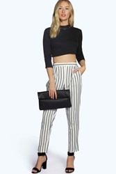Boohoo Pin Stripe Tailored Ankle Grazer Trouser White